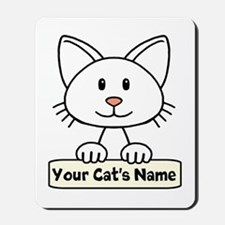 Personalized White Cat Mousepad