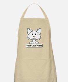 Personalized White Cat Apron