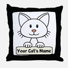 Personalized White Cat Throw Pillow