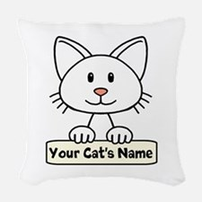 Personalized White Cat Woven Throw Pillow
