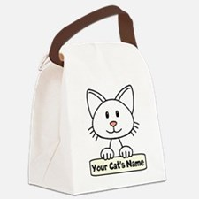 Personalized White Cat Canvas Lunch Bag