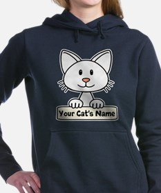Personalized White Cat Women's Hooded Sweatshirt