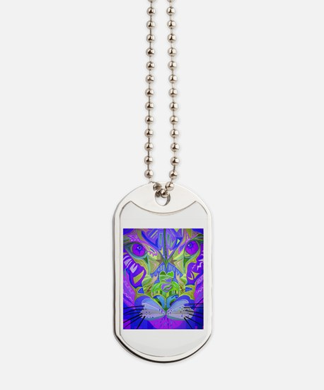 Abstract Cougar - Purple Dog Tags