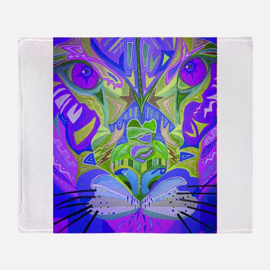 Abstract Cougar - Purple Throw Blanket