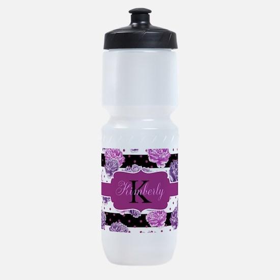 Purple Flower Stripes Monogram Sports Bottle