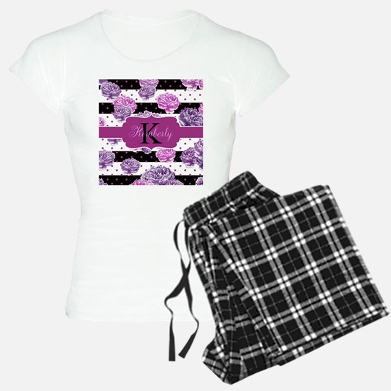 Purple Flower Stripes Monogram Pajamas