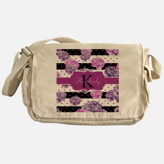 Purple Flower Stripes Monogram Messenger Bag