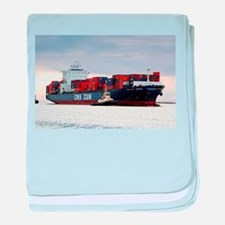 Container cargo ship and tug baby blanket