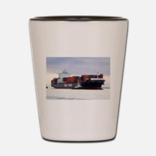 Container cargo ship and tug Shot Glass