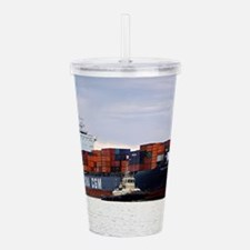 Container cargo ship a Acrylic Double-wall Tumbler