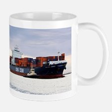 Container cargo ship and tug Mugs