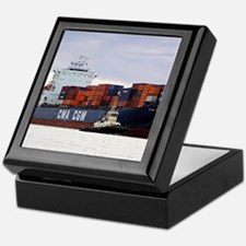 Container cargo ship and tug Keepsake Box