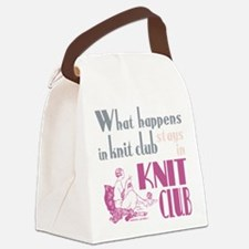 Knit club pink grey Canvas Lunch Bag