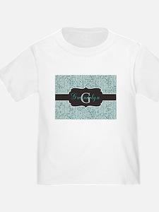 Teal Thin Stripe Monogram T-Shirt