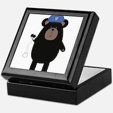 Police Black Bear and handcuffs Keepsake Box