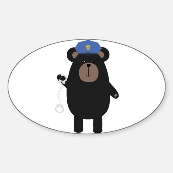Police Black Bear and handcuffs Decal