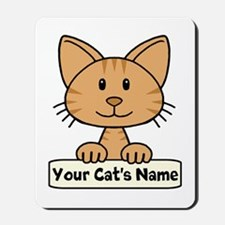 Personalized Orange Striped Cat Mousepad