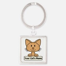 Personalized Orange Striped Cat Square Keychain