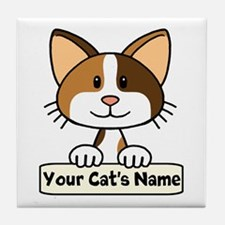 Personalized Calico Cat Tile Coaster