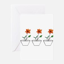Three Flowers in a Row Greeting Cards