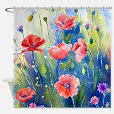 Watercolor red poppy field Shower Curtain