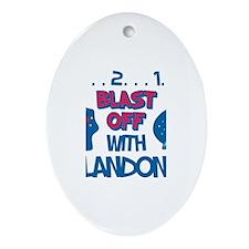 Blast Off with Landon Oval Ornament