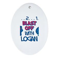 Blast Off with Logan Oval Ornament