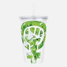 Feminist Symbol Green Acrylic Double-wall Tumbler
