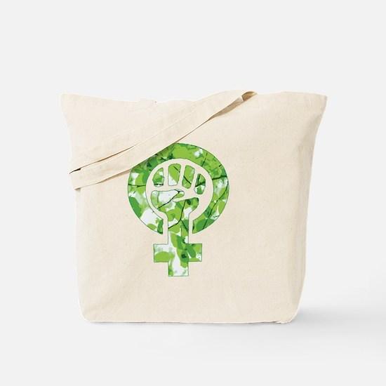 Feminist Symbol Green Leaves Tote Bag