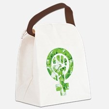 Feminist Symbol Green Leaves Canvas Lunch Bag