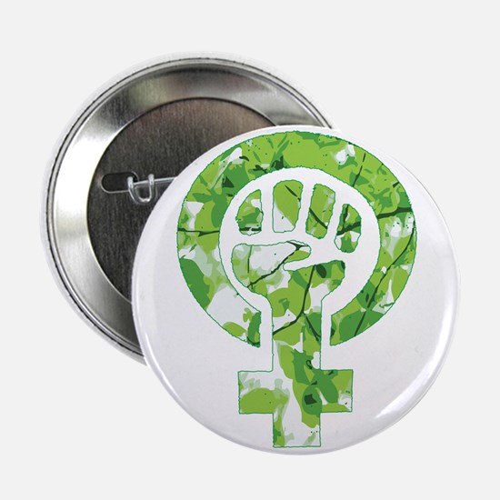 "Feminist Symbol Green Leaves 2.25"" Button"