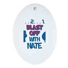 Blast Off with Nate Oval Ornament