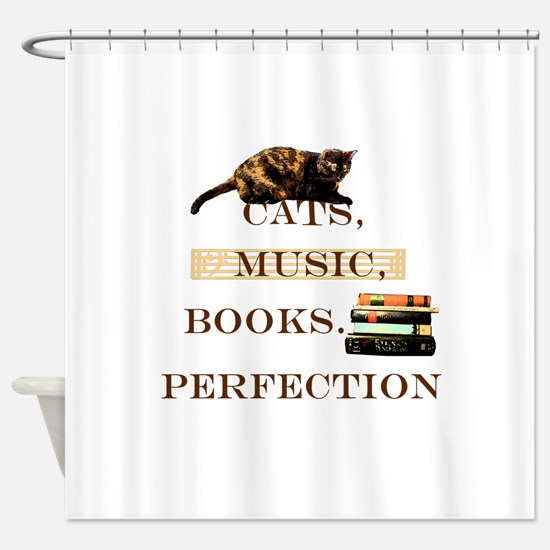 Cats, books and music Shower Curtain