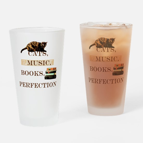 Cats, books and music Drinking Glass