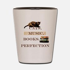 Cats, books and music Shot Glass