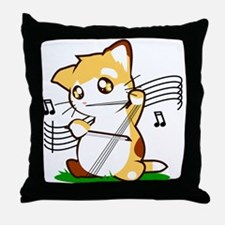 Cello Kitty Throw Pillow