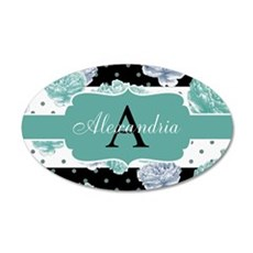 Teal Peony Stripe Personalized Wall Decal