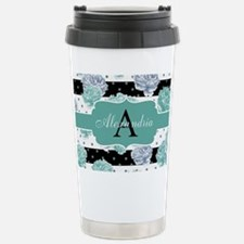 Teal Peony Stripe Personalized Travel Mug