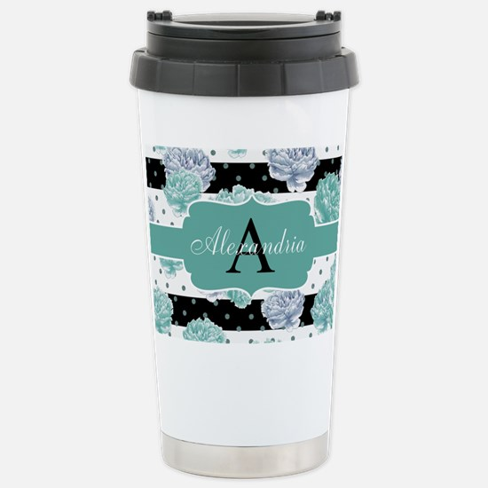 Teal Peony Stripe Personalized Travel Mug