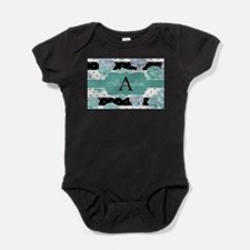 Teal Peony Stripe Personalized Body Suit