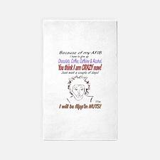 Afib crazy lady shirt Area Rug