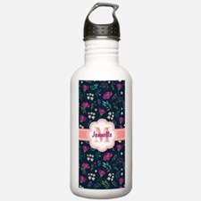 Navy and Pink Chic Vin Water Bottle