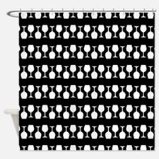 Wine Glass Stripes Pattern Shower Curtain