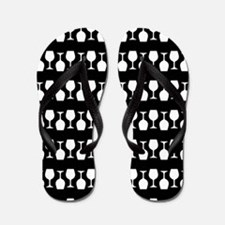 Wine Glass Stripes Pattern Flip Flops