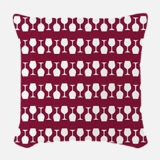 Wine Glass Stripes Pattern Woven Throw Pillow