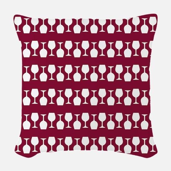 Wine Glass Stripes Pattern Woven Throw Pillow