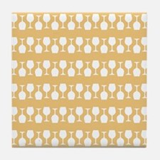 Wine Glass Stripes Pattern Tile Coaster