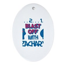 Blast Off with Zachary Oval Ornament