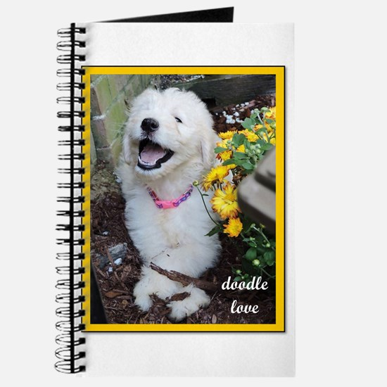 Doodle Love - Doodle Puppy Picture with Flowers Jo