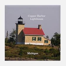 Copper Harbor Lighthouse Tile Coaster